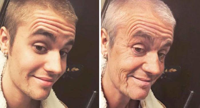 Justin Bieber modificato con FaceApp